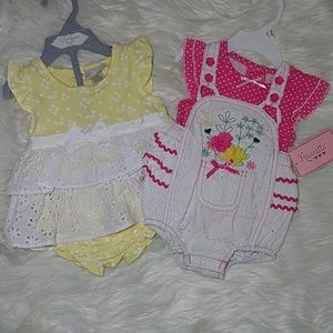 Other - NWOT Baby girl dress and overall outfit